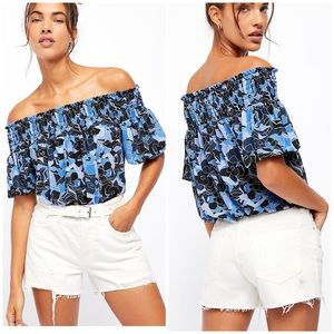 NWT Free People Off Shoulder Bubble Blouse Top M